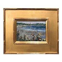 Stephen Motyka Modern Impressionist Small Coastal Oil Painting, Easton's Beach, Newport RI