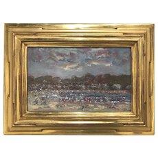 Stephen Motyka Modern Impressionist Small Coastal Oil Painting, Easton's Beach, Newport