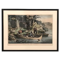 Currier & Ives Hand Colored Lithograph, Life in the Woods, Starting Out, 1860