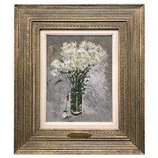 Stephen Motyka Modern Impressionist Still Life Oil Painting, White Flowers
