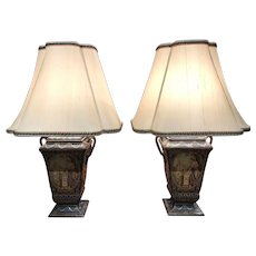 Pair of Continental Tole Footed Lamps with Polychrome & Printed Classical Decoration