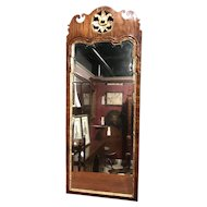 18th c English Mahogany Gilded Looking Glass or Mirror