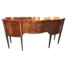 Hepplewhite Style Mahogany Serpentine Sideboard with Tiger Maple Banding