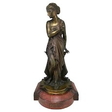 Auguste Joseph Peiffer Cast Patinated Bronze of a Classical Figure of a Woman