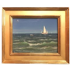 William R. Davis Marine Oil Painting, Coming Ashore