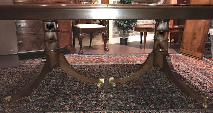 Baker Furniture Mahogany Double Pedestal Banded Dining Table With Three Leaves