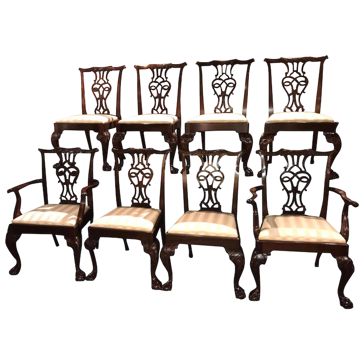 Admirable Baker Furniture Set Of 8 Mahogany Chippendale Style Dining Chairs Evergreenethics Interior Chair Design Evergreenethicsorg