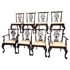 Baker Furniture Set of 8 Mahogany Chippendale Style Dining Chairs
