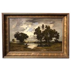 Leon Richet Barbizon Landscape Oil Painting