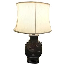 Japanese Bronze Table Lamp with Decorative Landscape Scenes