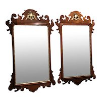Pair of Arthur Brett & Sons English Mahogany Chippendale Style Mirrors