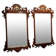 Pair of Arthur Brett & Sons English Mahogany Chippendale Style Mirrors
