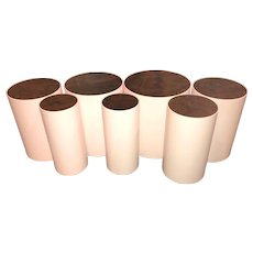 Peter Sandback Modernist Set of Seven Maple Drum Tables with Walnut Burl Tops