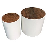 Peter Sandback Modernist Pair of Maple Drum Tables with Walnut Nail Inlaid Tops