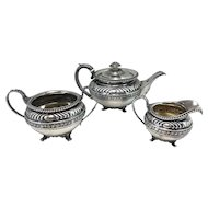 Rebecca Emes & Edward Barnard English Sterling Silver 3 Pc Tea Service circa 1817