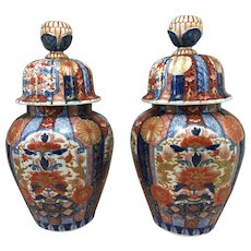 Pair of 19th Century Japanese Imari Covered Urns
