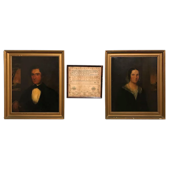 Pair of 19th c Jackman Ancestral Portraits with Associated 1824 Sampler