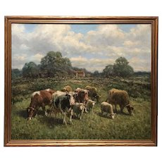 George Arthur Hays Pastoral Oil Painting with Cows & Sheep