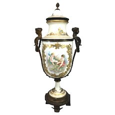 Sevres French Porcelain Covered Urn with Ormolu Mounts circa 1771
