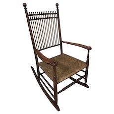Shaker Stained Rod Back Armed Rocking Chair with Split Ash Seat, Alfred Maine