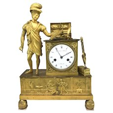Early 19th c French Ducommun & Blanchet Gilt Bronze Figural Mantle Clock