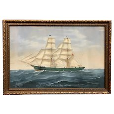 "Italian Signed Gouache Painting Ship Portrait ""Trusty"" of Harborgrace 1890"