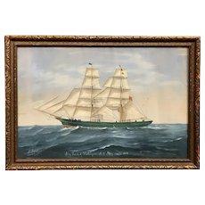 "Italian Signed Gouache Painting Ship Portrait ""Trusty"" of Harborgrace 1890"