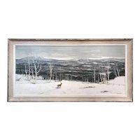 Paul Starrett Sample Panoramic Winter Landscape Oil Painting, View of Verney Farm Bennington NH