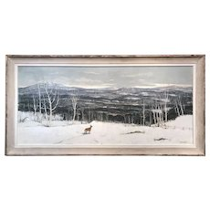 Paul Starrett Sample Panoramic Winter Landscape Oil Painting, View of Verney Farm Bennington NH