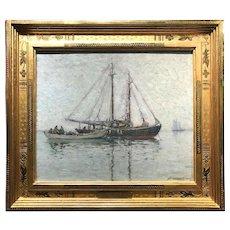 Aldro Thompson Hibbard Impressionist Marine Oil Painting, Boats at Cape Cod 1918