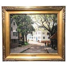 Anthony Thieme Oil Painting Street Scene - Main Street, Rockport, Massachusetts