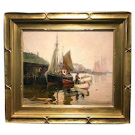 Anthony Thieme Marine Oil Painting of Boats in the Harbor, After The Storm
