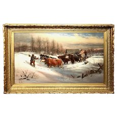 William Preston Phelps Winter Scene Oil Painting, Driving Cattle Through The Snow