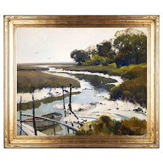 Anthony Thieme Oil Painting Coastal Landscape, The Old River, Essex MA