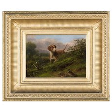Arthur Fitzwilliam Tait Oil Painting, Dog & Snipe 1866