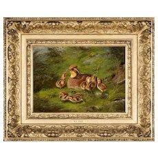 Arthur Fitzwilliam Tait Oil Painting, Hen Quail & Chickens 1865