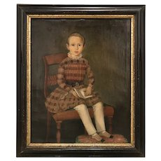 19th c Primitive Portrait of a Child Reading a Book