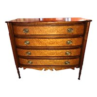 Vermont Federal Sheraton Birdseye Maple Bow Front Chest of Drawers Vermont attr. Lewis Beals