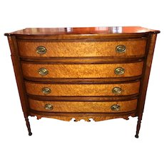 Federal Sheraton Birdseye Maple Bow Front Chest of Drawers Probably Vermont