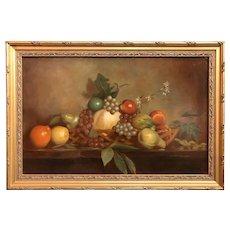 Sydney Thomas Oil Painting Still Life with Fruit, Abundance