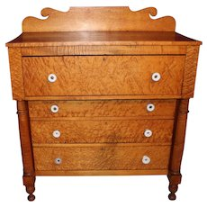 Early 19th c Sheraton Tiger & Birdseye Maple Chest of Drawers