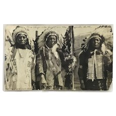 Silver Gelatin Photograph of Three Sioux Chiefs from the Custer Battle of 1873