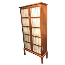 Biedermeier Fruitwood Bookcase with Glazed Doors & Adjustable Shelves