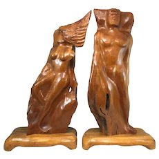 Pair of Hawaiian Koa Wood Figure Sculptures, Unsigned, circa 1945