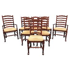 Set of 8 English Oak Ladder Back Dining Chairs with Rush Seats