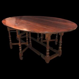Large English Cherry Gateleg Oval Dining Table