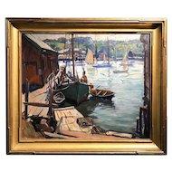 Emile Albert Gruppe Marine Oil Painting, Early Morning Gloucester