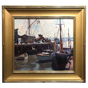 Emile Albert Gruppe Marine Oil Painting with Boats, Rockport