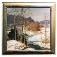 Frederick J. Mulhaupt Oil Painting Winter Landscape, The Valley Road