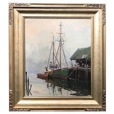 Otis Pierce Cook Jr. Oil Painting Coastal Scene, Gloucester Harbor